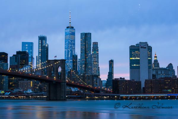 Brooklyn Bridge, one World Trade Center, New York City