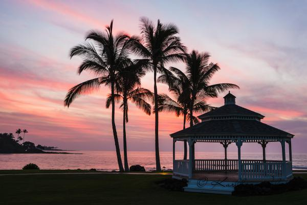 Pavillon, Sonnenuntergang am Strand, Kohala Coast, Big Island, Hawaii