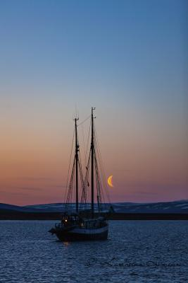 Sailing ship at moon light, Scoresby Sund
